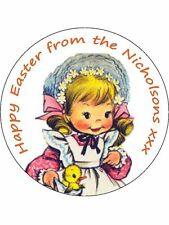 30-90 PRE-CUT EDIBLE WAFER CUP CAKE TOPPERS PERSONALISED VINTAGE EASTER DAY