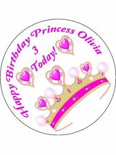 30-90 PRE-CUT EDIBLE WAFER CUP CAKE TOPPERS PRINCESS CROWN ANY NAME OR AGE PINK