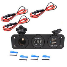 12V Cigarette Lighter Socket Splitter Charger Panel Mount Dual USB Voltmeter