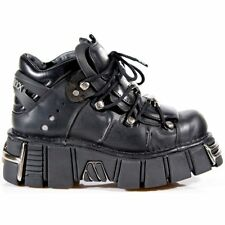 New Rock 106 S1 Unisex Metallic Black Classic Leather Biker Gothic Boot All Size