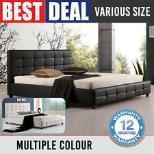 Bed Frame Double Queen King Padded PU Leather Black White Slat Base Bravo