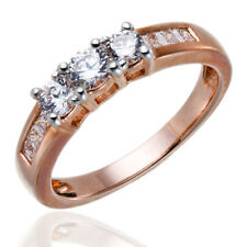 Rose Gold Plated Silver AAAAA Grade Cubic Zirconia Engagement 3-Stone CZ Ring