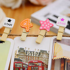 Cute Wooden Clothes Photo Hanger Paper Peg Pin Clothespin Craft Clips Home Decor