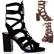 WOMENS LACE UP BLOCK HEEL GLADIATOR SANDALS SHOES SZ 5-10
