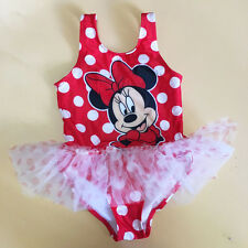 Girl Kids Minnie Mouse Swimsuit Swimwear Tutu Skirt 2-5Y Dot Beachwear Bathing