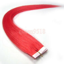 "New 16-24""Seamless Skin Tape In Remy Human Hair Extensions Straight Hot Pink"