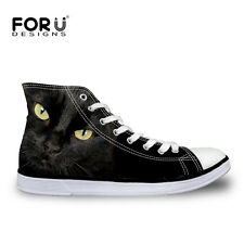 Black Cat Women Lady High Top Flat Lace Up Shoes Casual Canvas Sneakers Sport