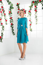 Long Sleeves Short Mother of the Bride Dress Plus Size Scoop Neckline