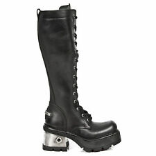 New Rock 236-S1 Solid Heel Metallic Leather Platform Boots Gothic Goth Punk Boot
