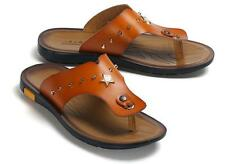 New Mens summer Breathable sandal flip flops Rivet casual Leather beach sandals