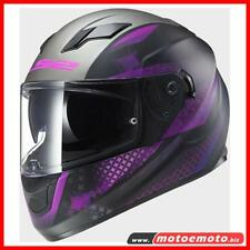 Ls2 Lady Helmet Full Face Motorcycle FF320 Lux Black Violet Pink W Pump Sunvisor