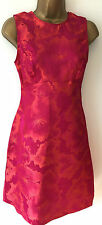 Debenhams Empire A Line Cerise Pink Coral Floral Party Dress Size 8 10 12 *SALE*