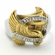 316L Stainless Steel gold toned eagle ring US 8-13 Motorcycle biker live to ride