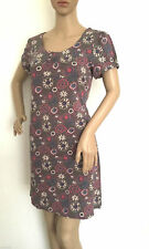 Mistral Dolly Print Cotton Shift Tea Dress in Grey and Pink Size 8 - 14