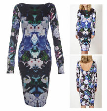 Lipsy Kardashian Floral Long Sleeve Bodycon Dress Scoop Back Size 6 8 10 £58