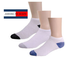 12 Pairs American Made Brand White & Color Heel/Toe No-Show Low-Cut Ankle Socks