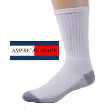 12 Pairs American Made Brand White/Gray Bottom Cotton Crew Socks Casual/Athletic