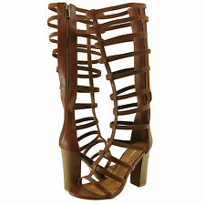 Women's Shoes Bamboo Stash 10V Strappy Caged Gladiator Sandals Chestnut *New*