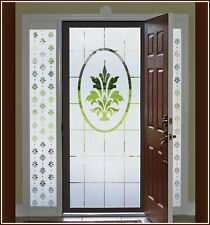 White Fleur de Lis Frosted Etched Glass Window Film Adhesive-Free Cling