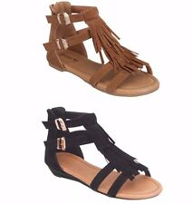 New Women Fringe Low Wedges Heel strappy shoe sandal ~ 5 - 10