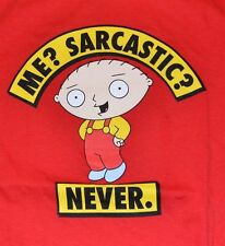 Family Guy Stewie Me? Sarcastic? Never. Adult Mens T-Shirt Official Licensed Tee