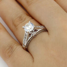 2.50 Ct 14K White Gold Fancy Cathedral Set Round Engagement Wedding Promise Ring