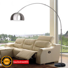 Modern Floor Arc LED Lamp With Marble Base in Nickel Finish-Arch Lamp Floor Lamp