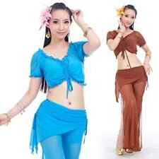 SF41# Belly Dance Costume Gauze 2pcs (Drawstring Top,Tribal Pants) 18 Colors