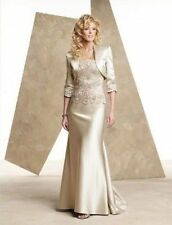 Champagne satin mother of the bride dress floor length evening dress free jacket