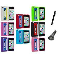 For Apple iPhone 5C Silicone Case Cassette Retro Tape Cover Gel+Charger+Pen