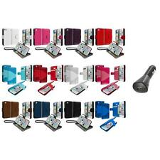 For iPhone 5C Leather Wallet Pouch Case Cover Credit Card ID Holder+Car Charger