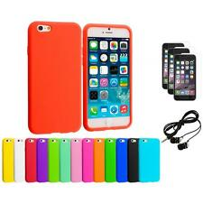 For Apple iPhone 6 (4.7) Silicone Case Cover+3X Screen Protector+Earphones