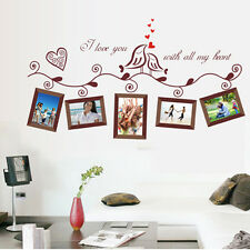 Removable Love Birds Photo Frame Vinyl Wall Stickers Decals DIY Art Home Decor