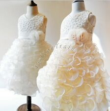 ROSE Flower Girl Dress Wedding Bridesmaid Party Pageant Formal Toddler Ball Gown