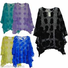 WOMENS LAGENLOOK NET MESH DRESS CROCHET TOP BOHO HIPPIE TUNIC FIT UK SIZE 18-22