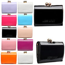 Ladies Designer Small Ball Clasp Fashion Purse Faux Patent Leather Wallet Clutch