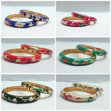 New Colored Indian Floral Design Bangles 2 pc Set Sizes 2.4, 2.6 Fashion Jewelry