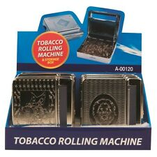 ENGRAVED METAL TOBACCO CIGARETTE ROLLING MACHINE AUTOMATIC ROLLER TIN HOLDER DW