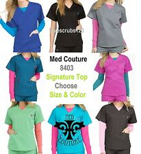 Med Couture 8403 Signature Scrub Top Choose Size & Color Free Shipping!