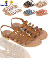 Womens Ladies Summer Open Toe Gladiator Flat Holiday Beach Party Sandals Shoes