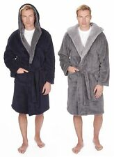 Mens Plain Sherpa Fleece Dressing Gown Robe Warm Winter Robe Navy Blue Grey