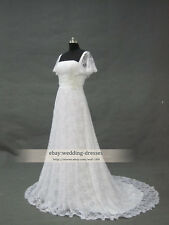 Vintage Lace A-line Wedding Dress Elegant White / Ivory Cap Sleeve Bridal Gowns