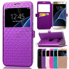 Slim Flip Leather View Window Wallet Card Holder Stand Case For Samsung & iPhone