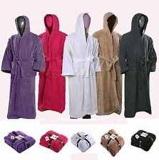 MENS LADIES UNISEX 100% EGYPTIAN COTTON HOODED BATH ROBE GOWN