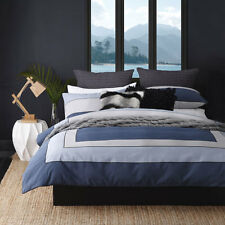 Platinum Logan and Mason RILEY INDIGO Doona Quilt Cover Set Queen King Bed Size