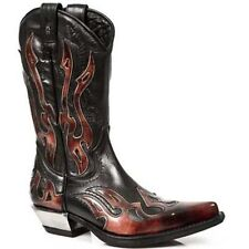 New Rock Red Flame Leather Cowboy Boots - 7921-S2 - Gothic,Goth,Punk,NewRock