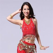 Belly Dance Bandage Beaded Top Dancing Tribal Coins Bra Costume