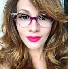 Sexy Cat Eye Gradient Ombre Two Tone Gold Pinup Rockabilly Style Glasses Frames