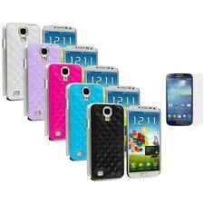 Leather Quilted Chrome Cover+3X LCD Protector for Samsung Galaxy S4 S IV i9500