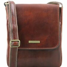 TUSCANY LEATHER shoulder crossbody bag for men with front zip made in Italy